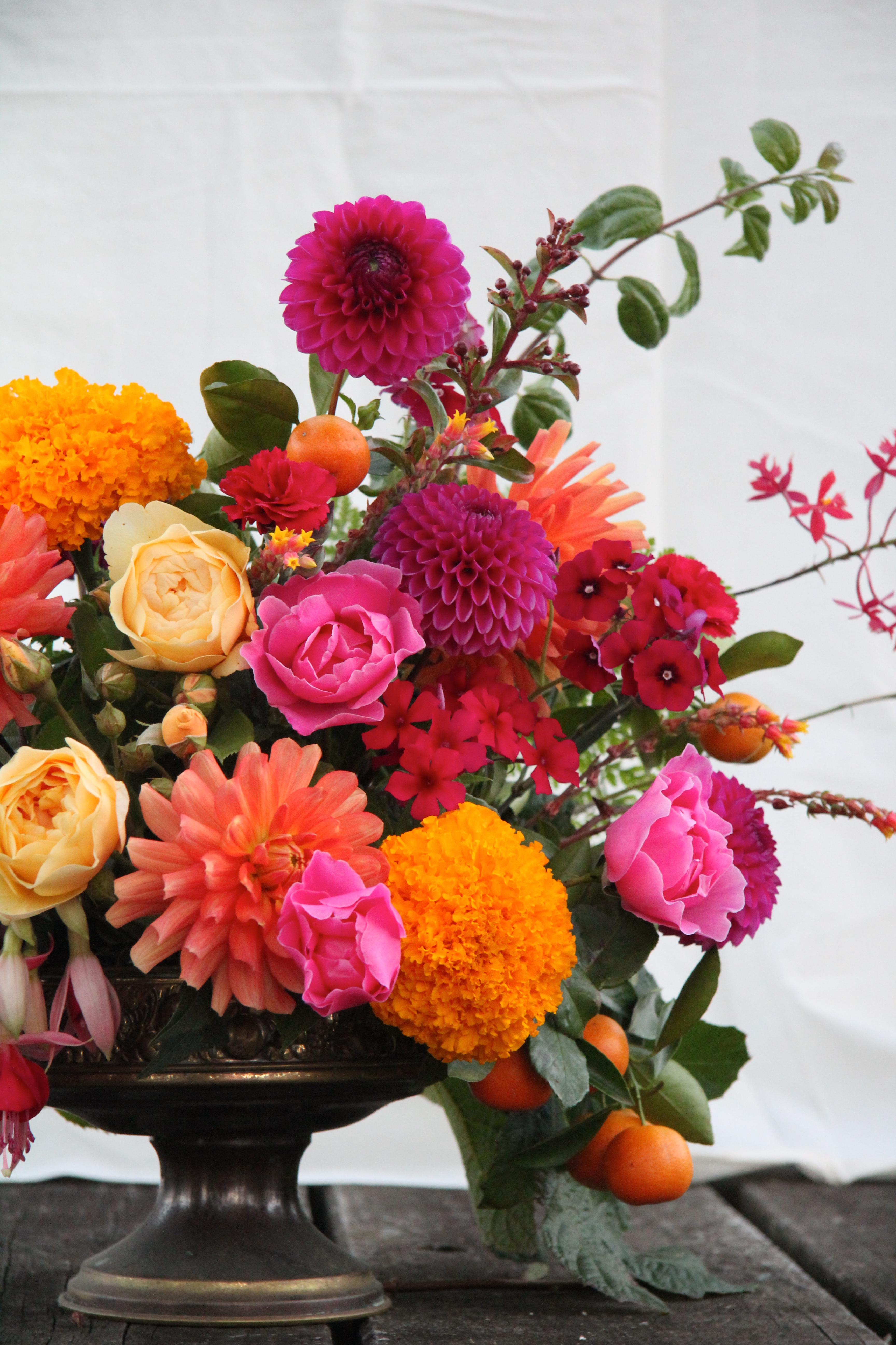 Bright bold table centrepiece
